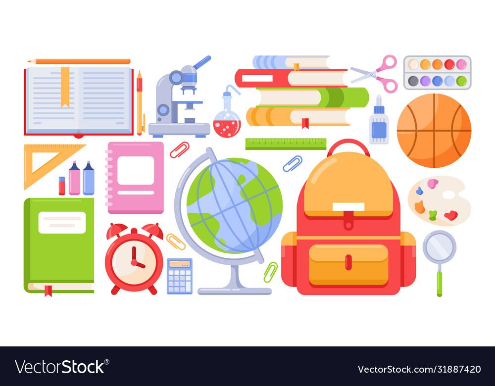 School tools icon set cartoon
