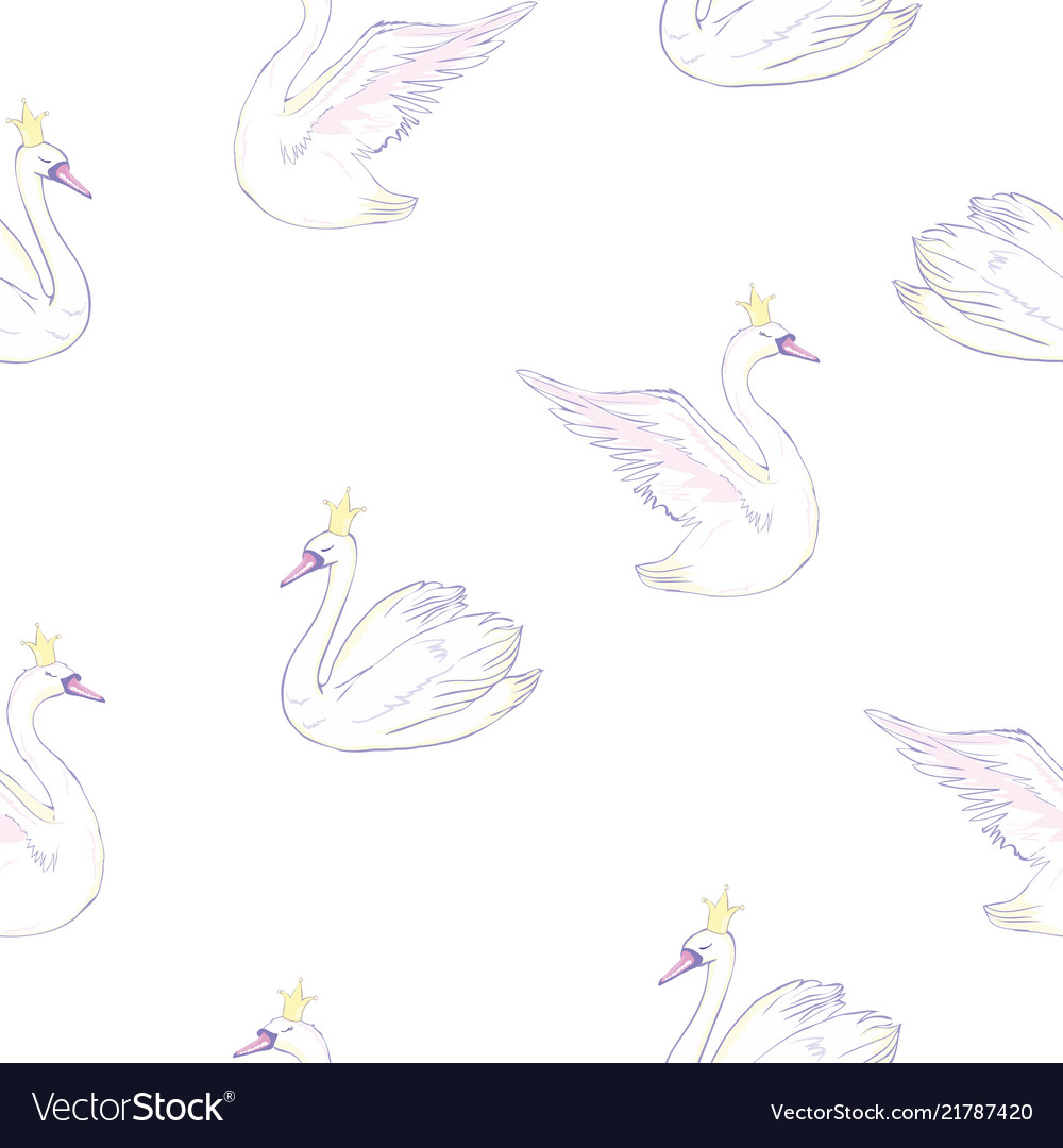 Seamless pattern with white swans white swans on