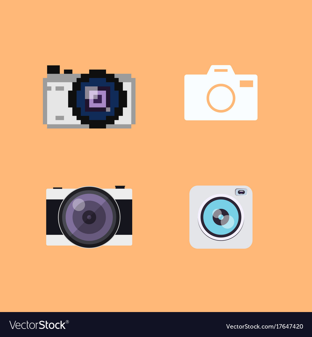 Set of camera flat icons