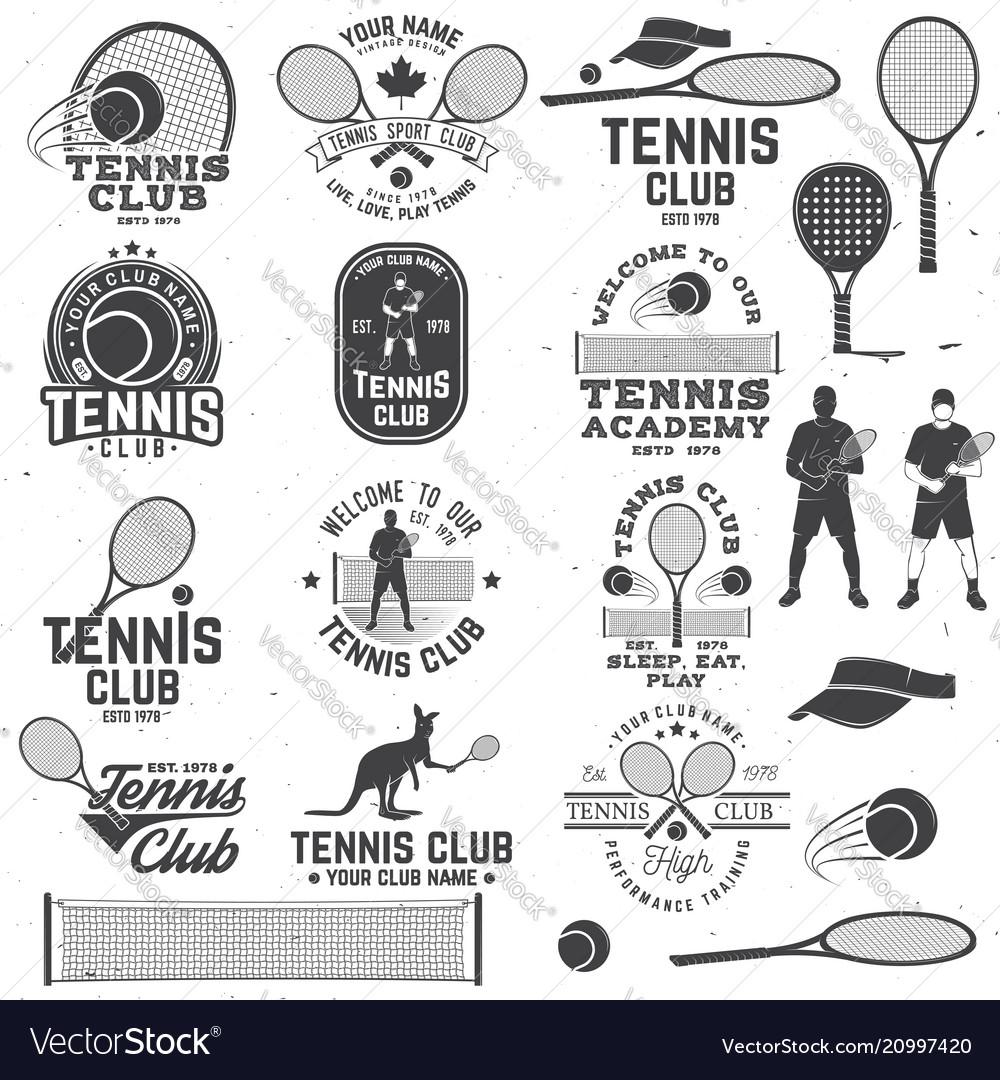 Set of tennis club badges with design element