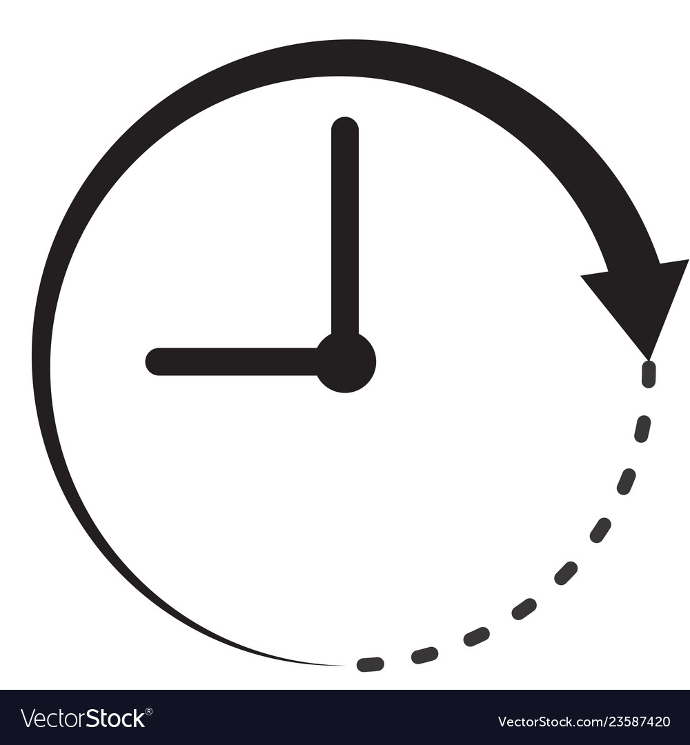 Time icon on white background flat style clock