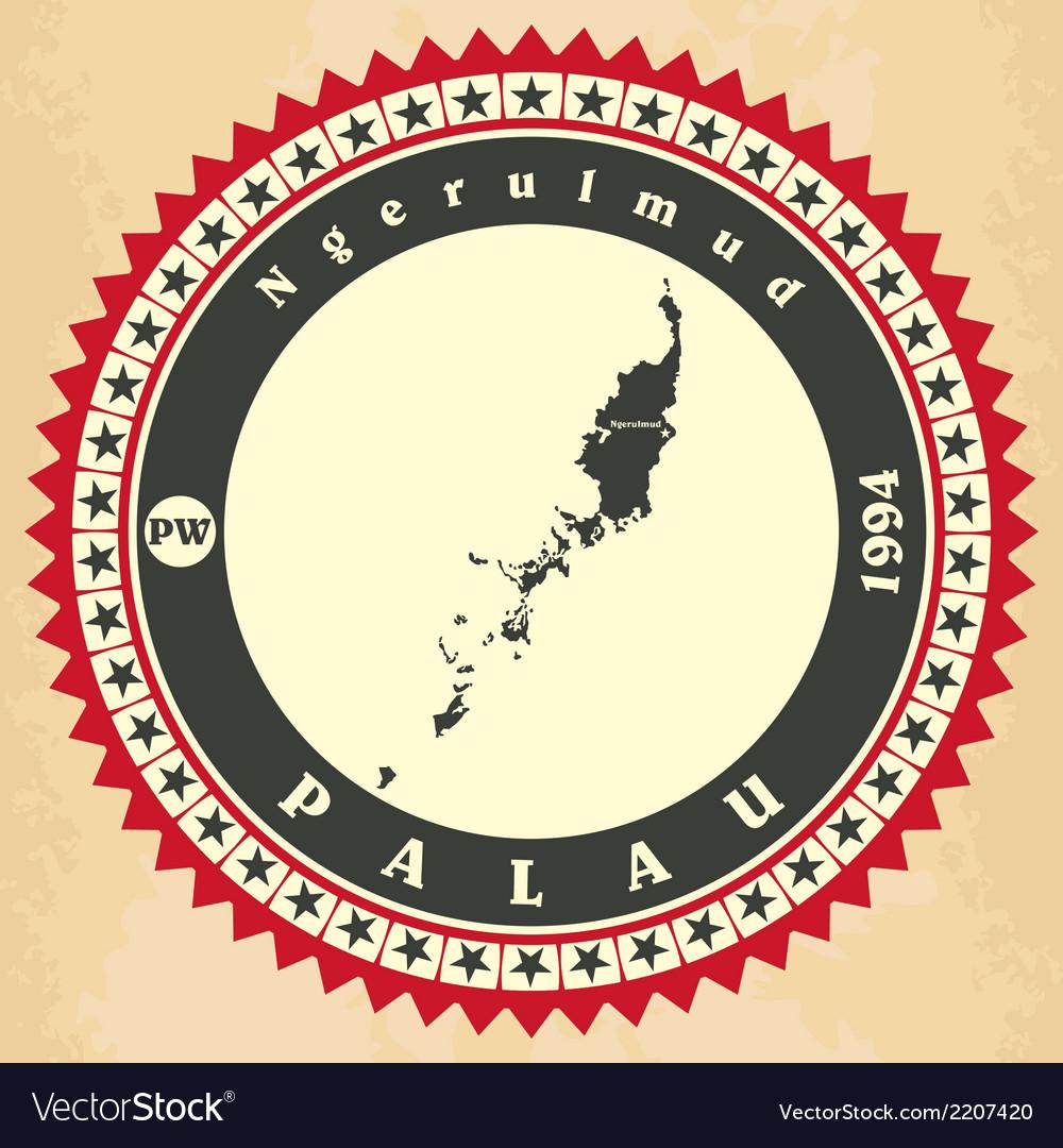 Vintage label-sticker cards of Palau vector image