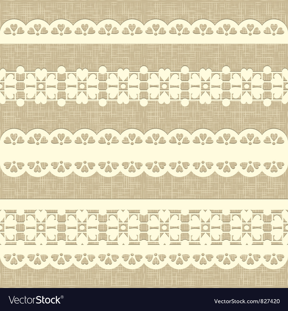 Vintage straight lace on linen canvas background