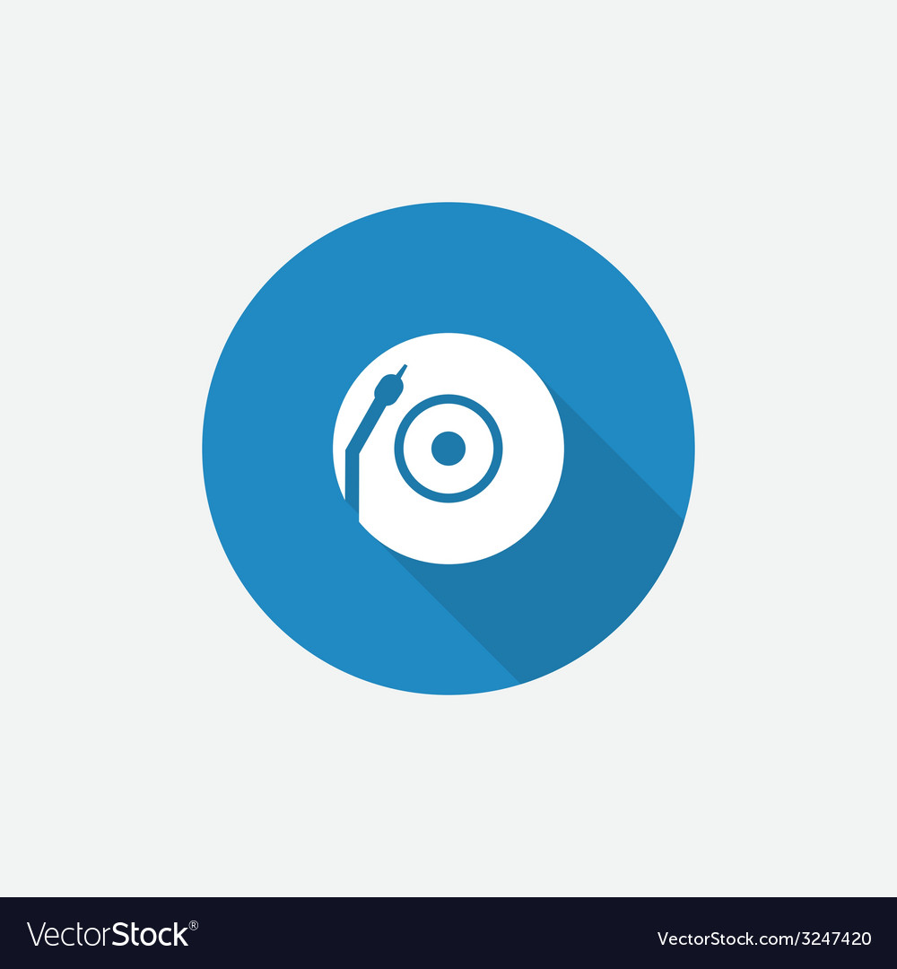 Vinyl turntable Flat Blue Simple Icon with long