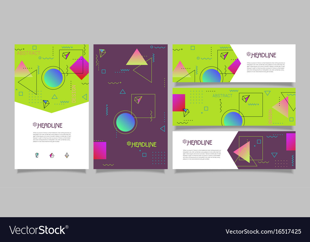 Abstract polygonal design banners and