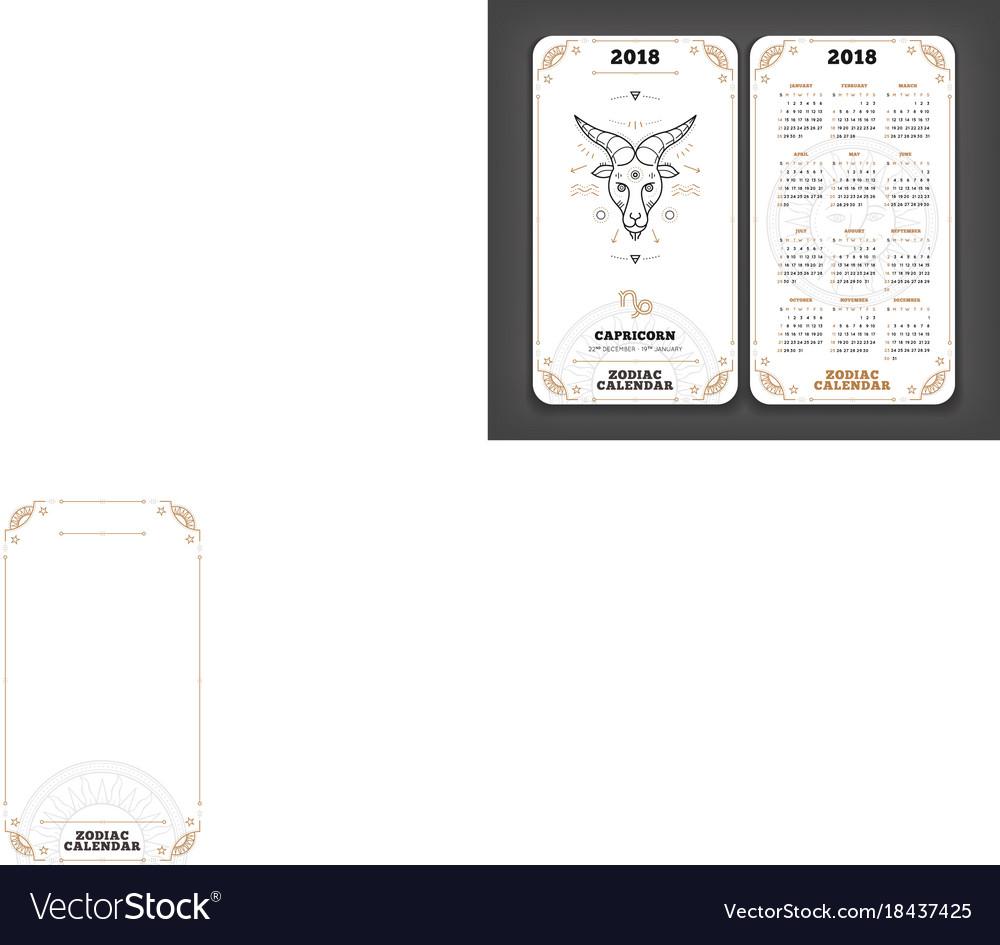 capricorn 2018 year zodiac calendar pocket size vector image