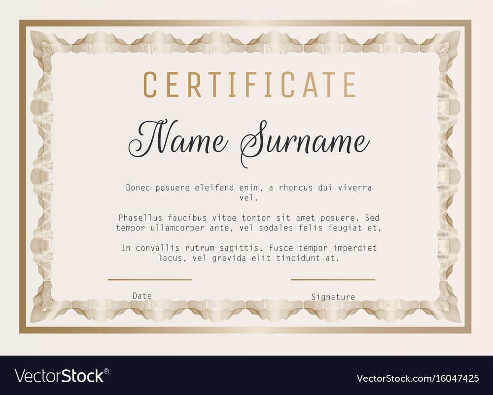 Certificate Of Appreciation Template With Vector Image