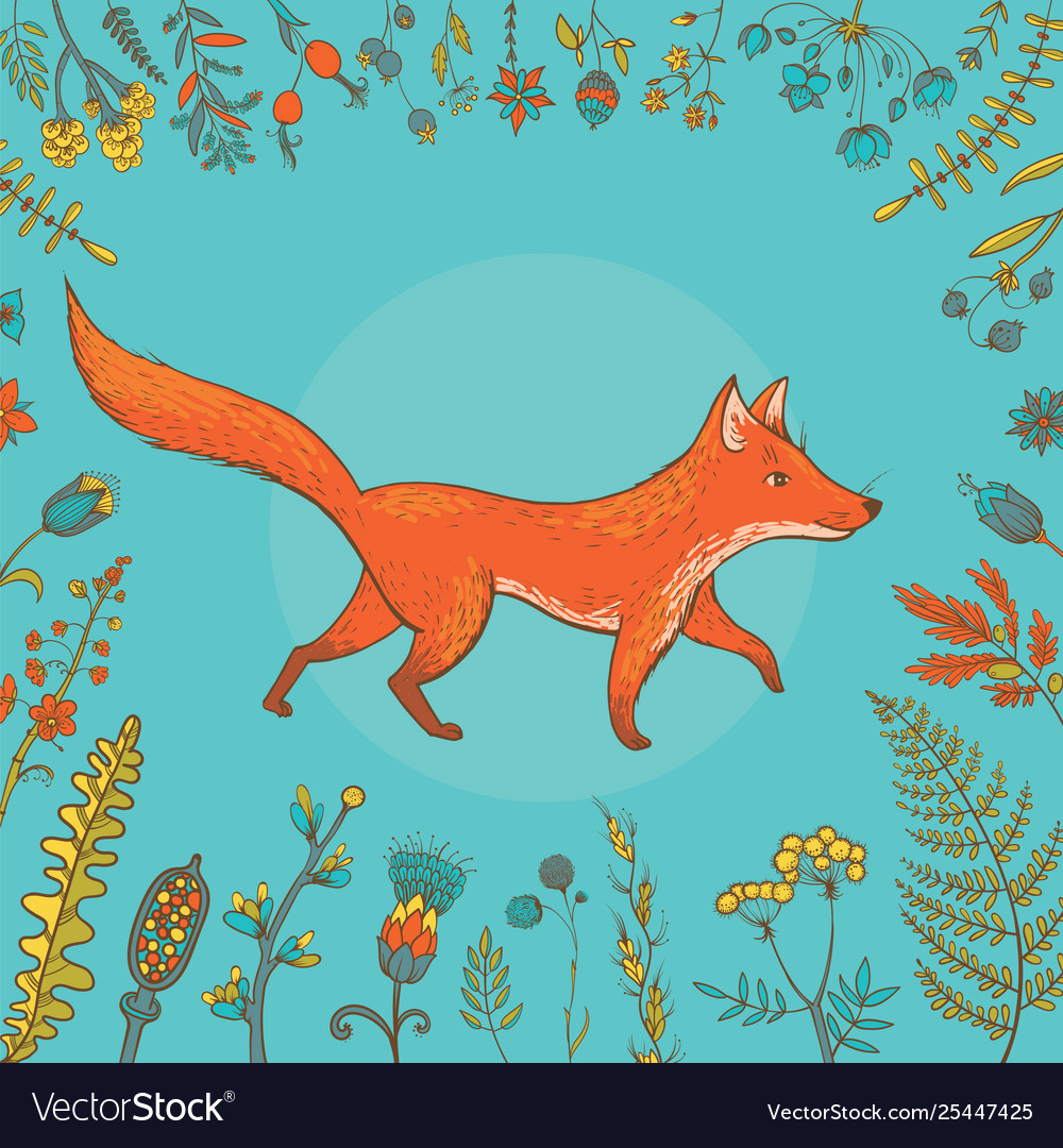 Cute fox surrounded flowers