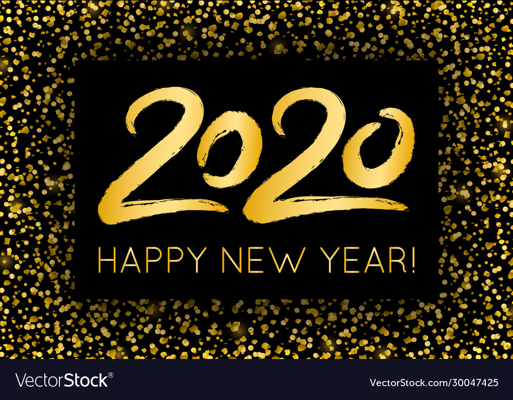 Golden luxury 2020 happy new year with shining