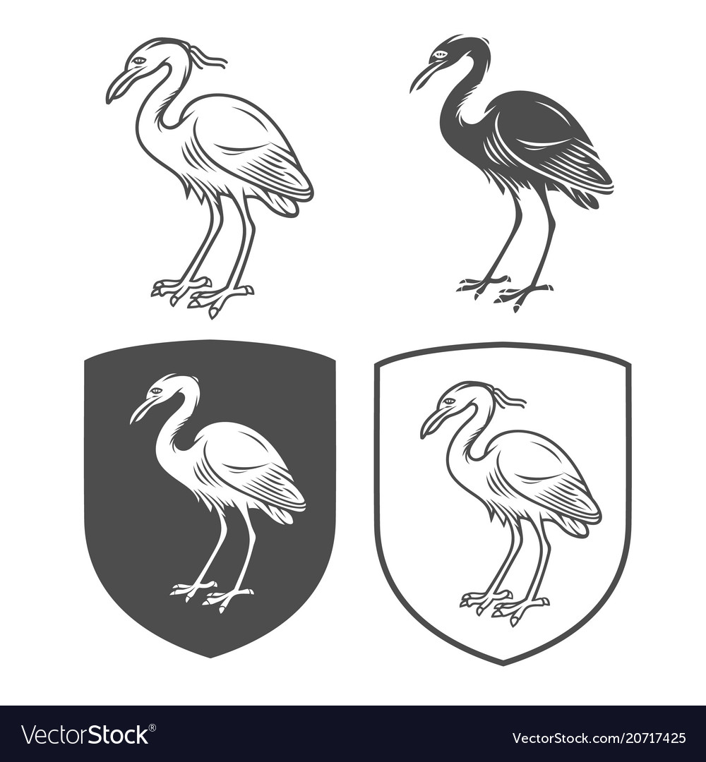 Heraldic shields with crane vector image