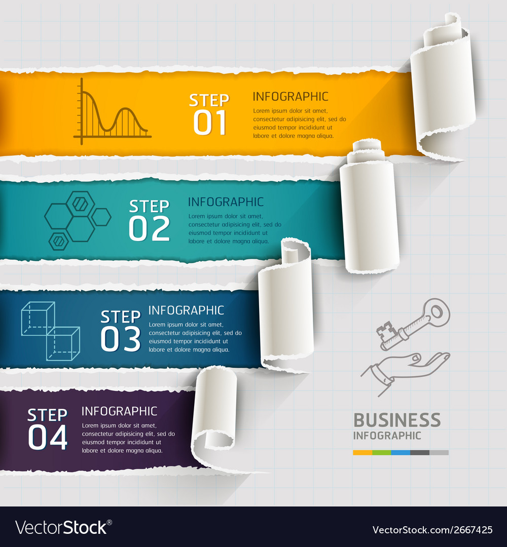 Modern infographics template torn paper style