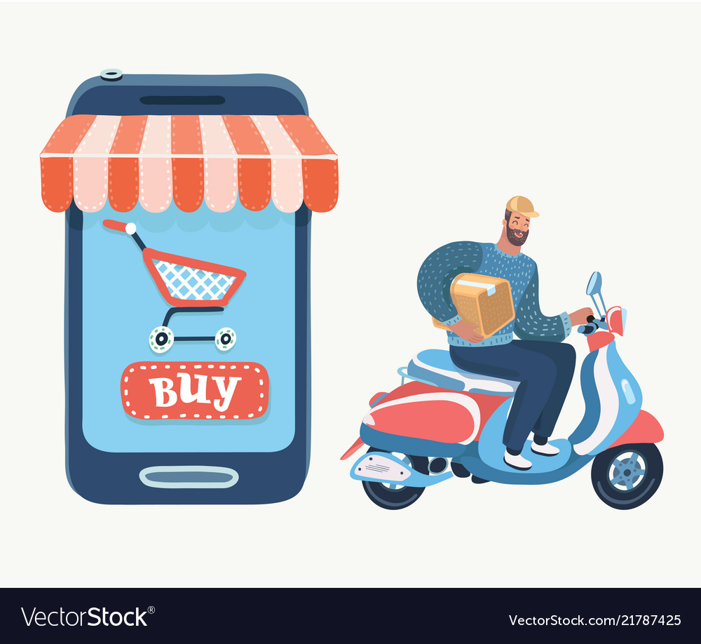 Online shopping using smartphone fast delivery
