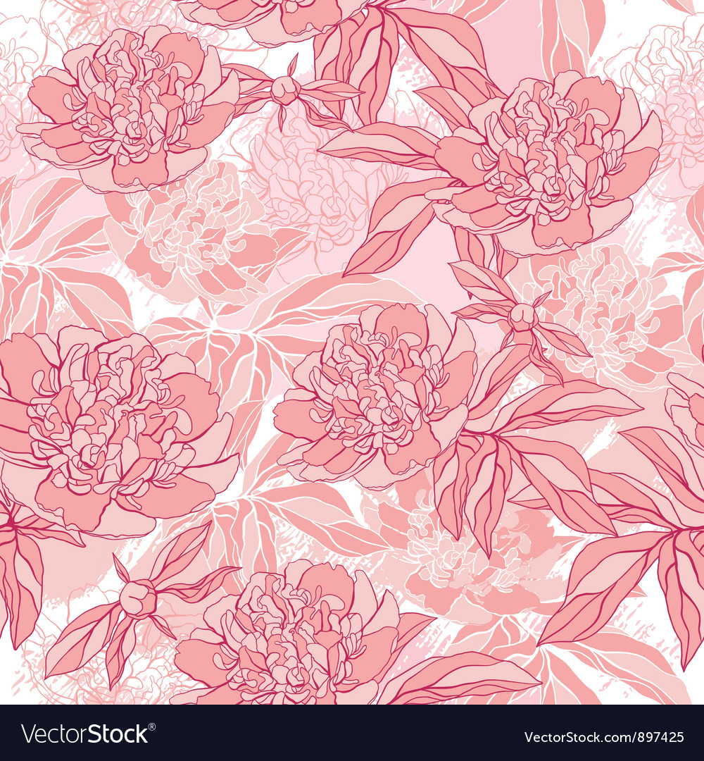 Pattern with peony and foliage Hand drawn