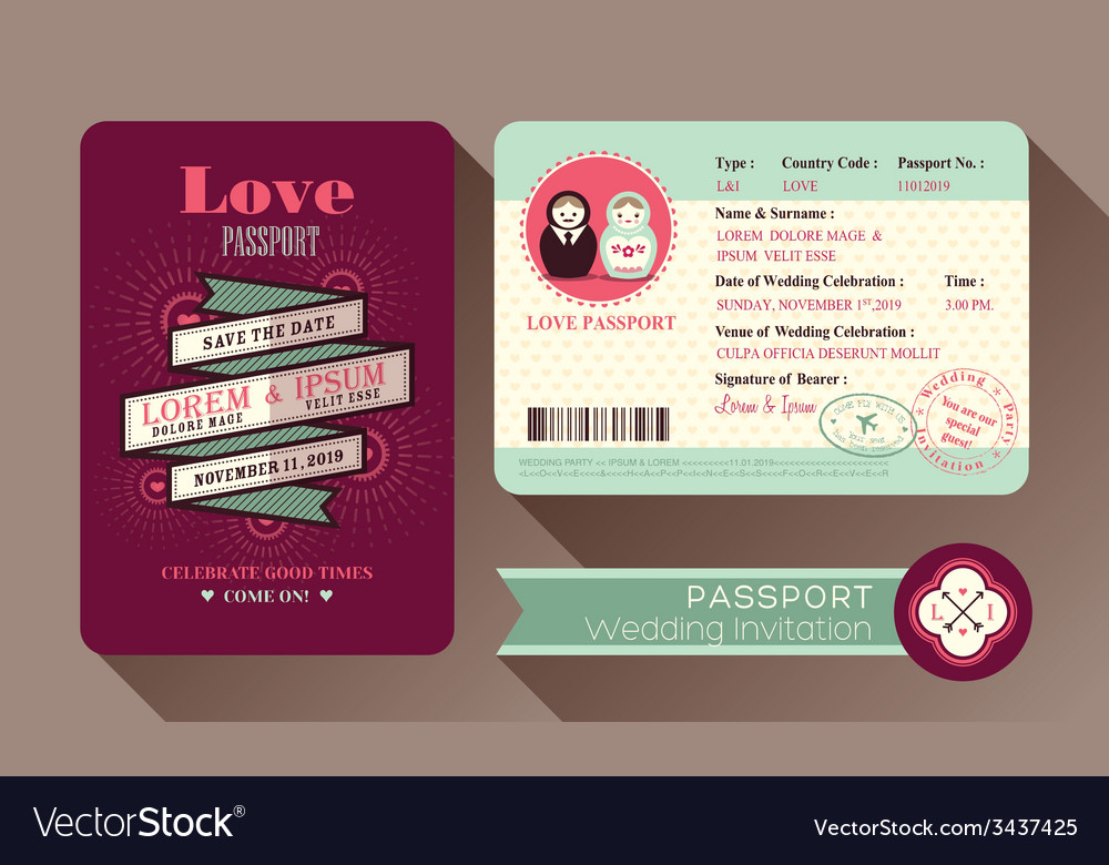 Retro Visa Passport Wedding Invitation card design vector image