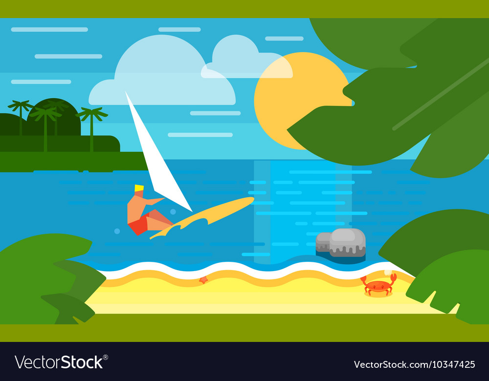 Seascape with Surfer Summer Banner