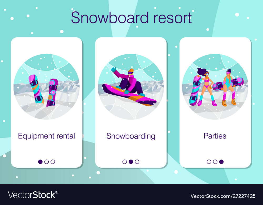 Set mobile app pages about winter holidays at