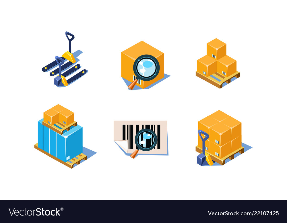 Set of 3d icons related to warehouse and