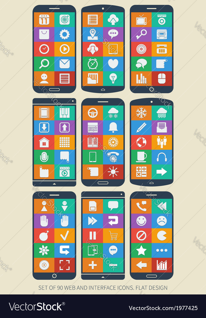 Set of 90 web and interface icons Flat design