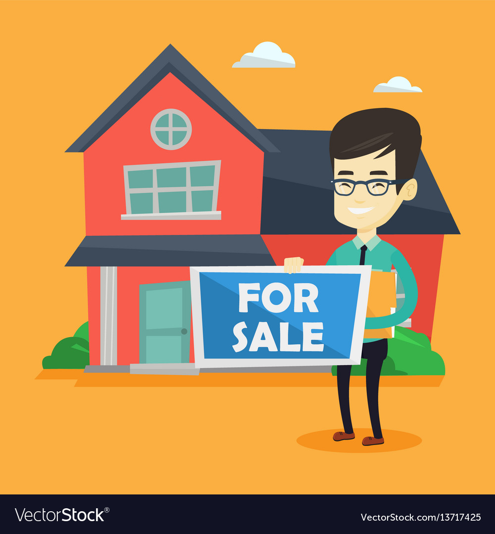 Young asian realtor offering house