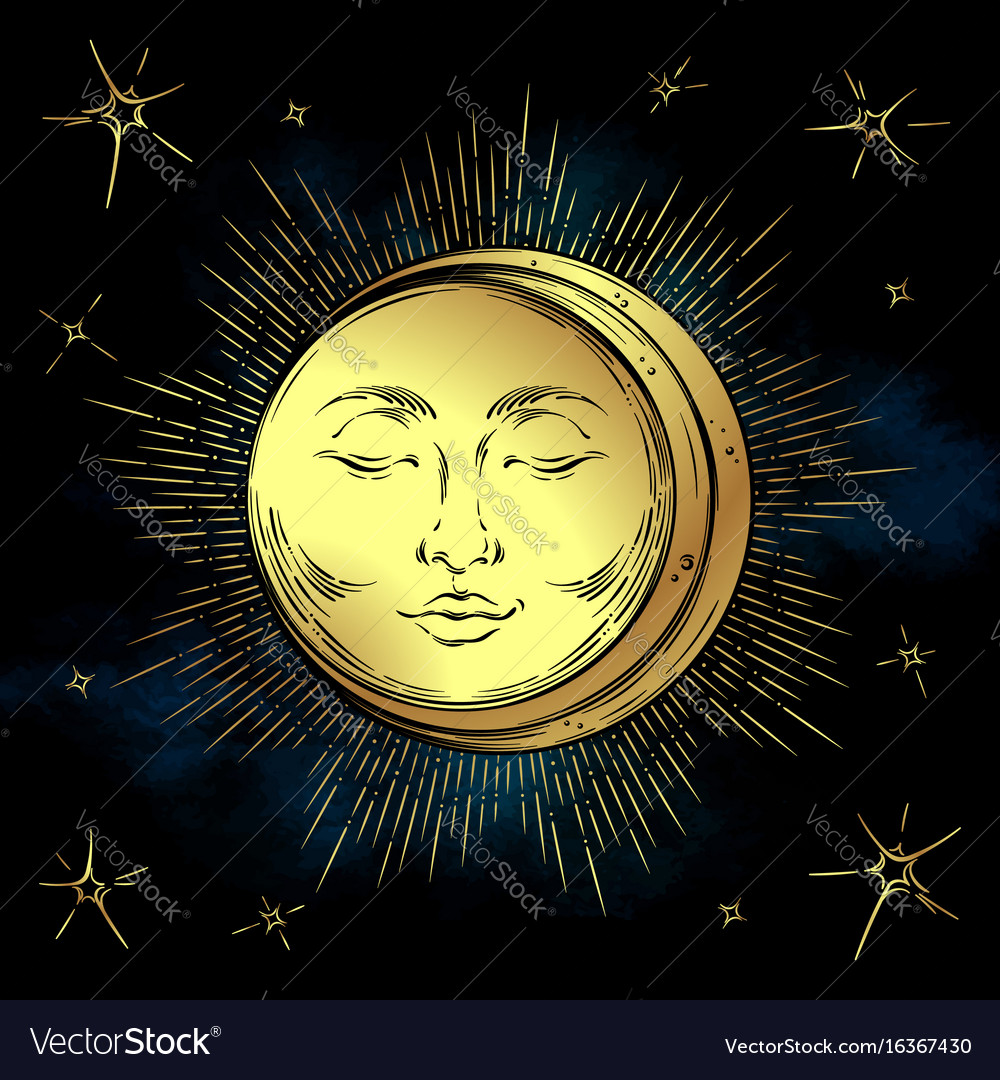 Antique style hand drawn art golden sun and moon