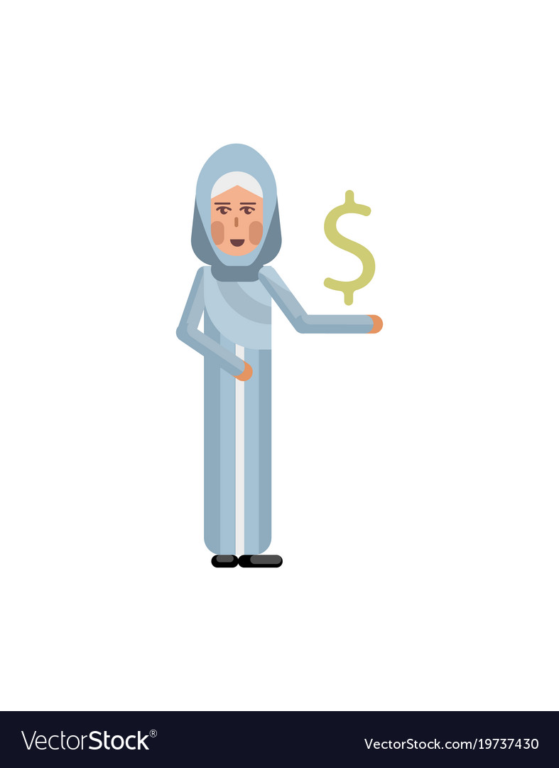 Arabic woman with dollar sign in hand