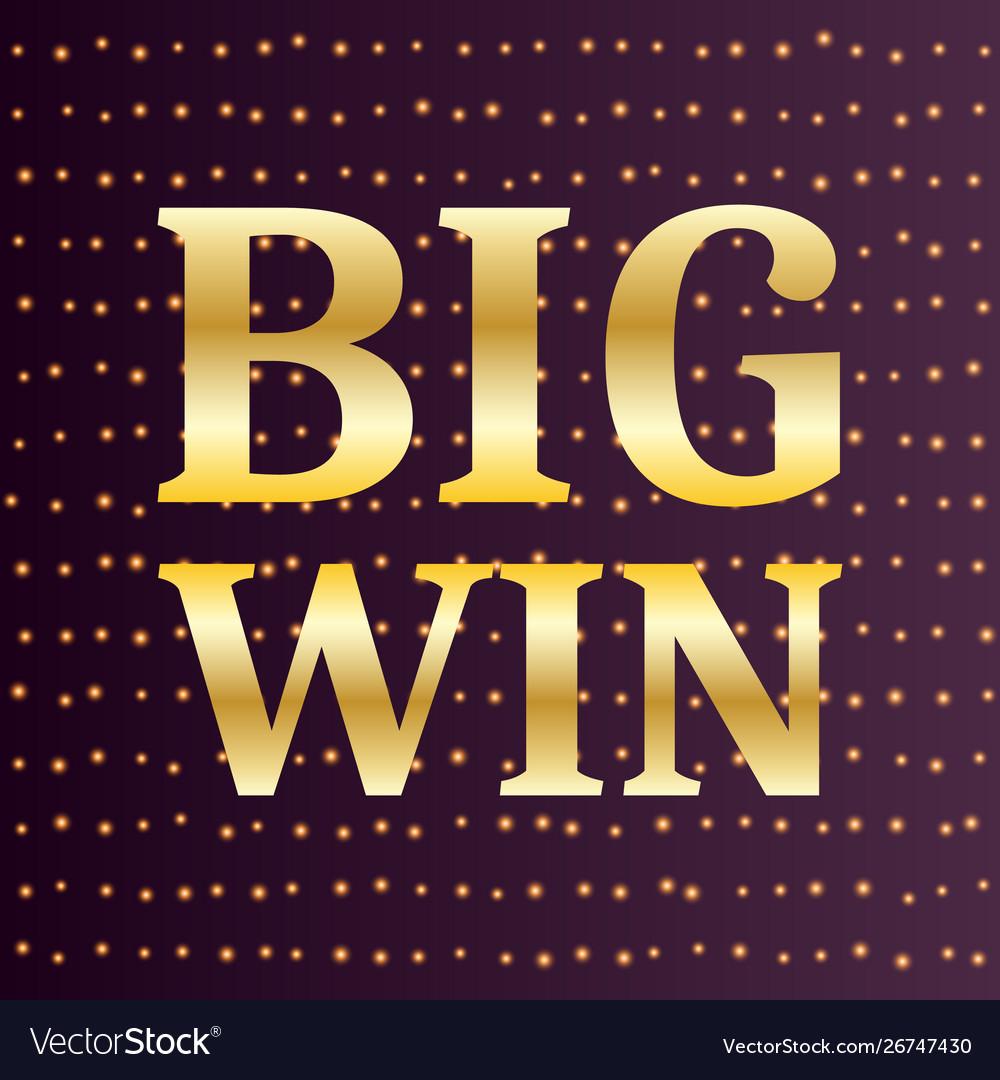 Big win luxury gold retro banner template