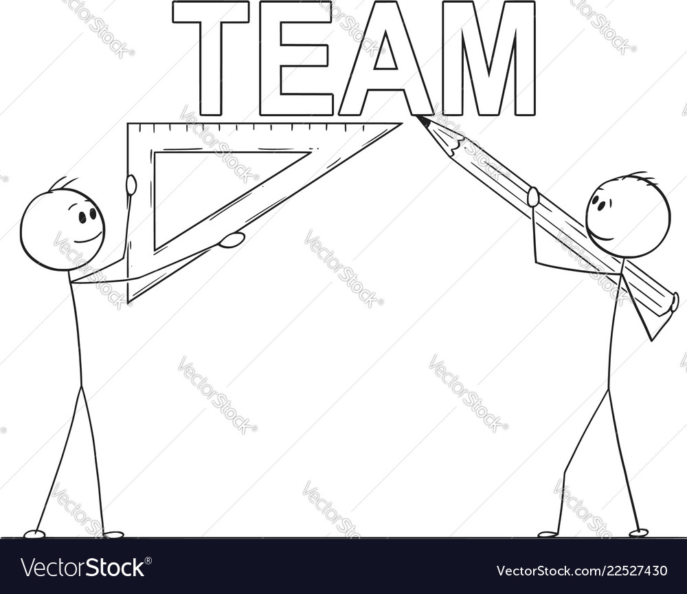 Cartoon of two businessmen holding pencil and