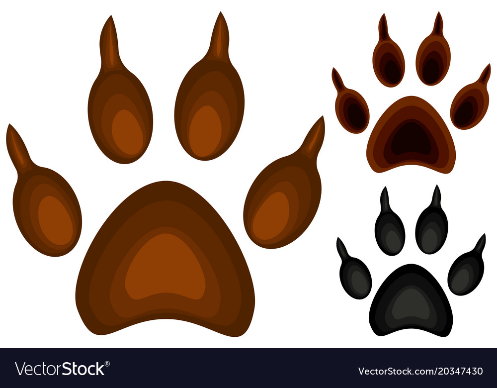 colorful cartoon dog paw footprint icon set poster rh vectorstock com dog cartoon paw patrol cartoon pictures dog paws