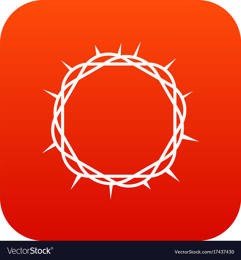 Crown of thorns icon digital red