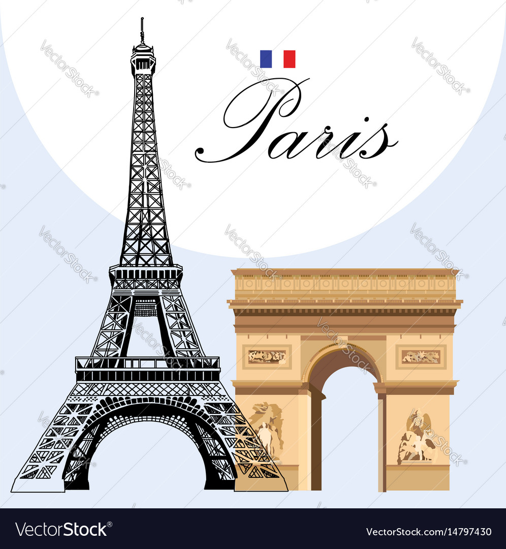 Eiffel tower and triumphal arch