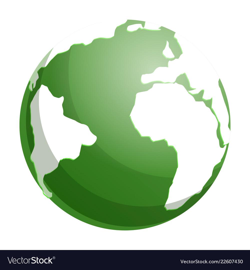 Green Globe Earth Icon Cartoon Style Royalty Free Vector
