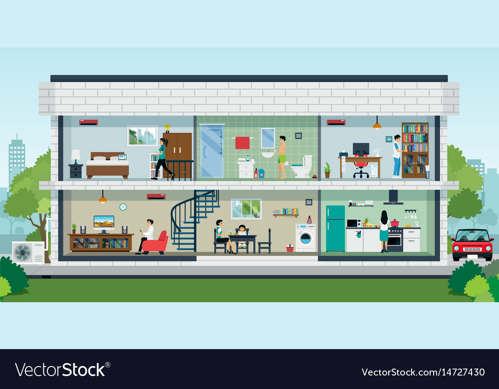 Happy family home vector image
