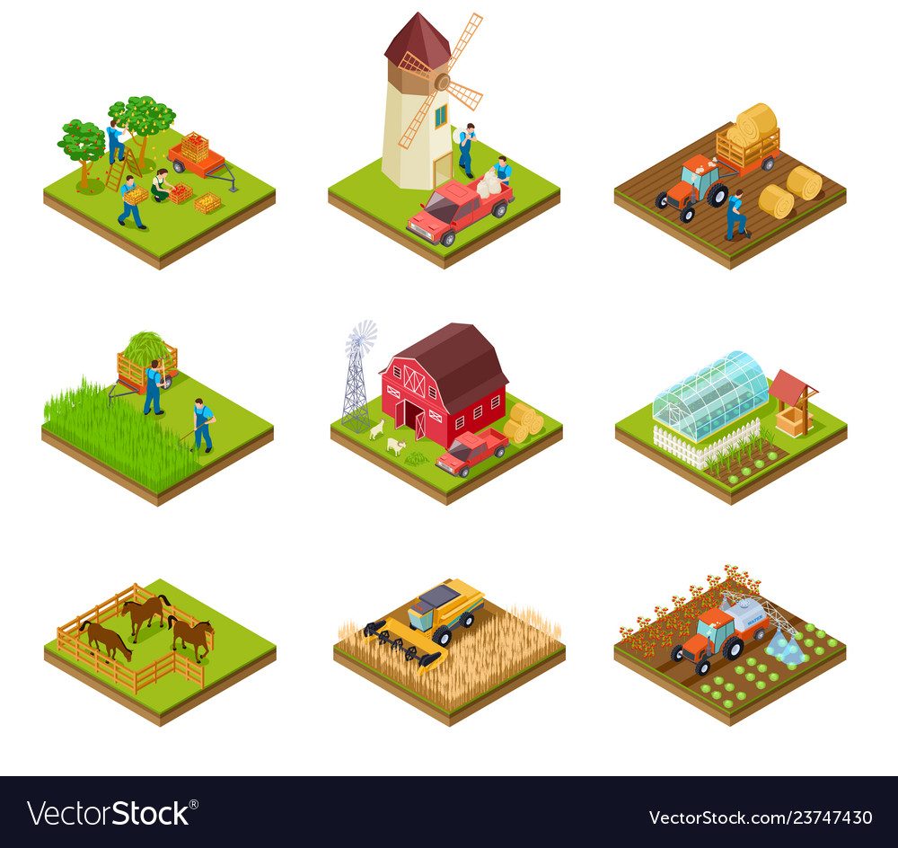 Isometric farm farmer tractor lorry and harvester
