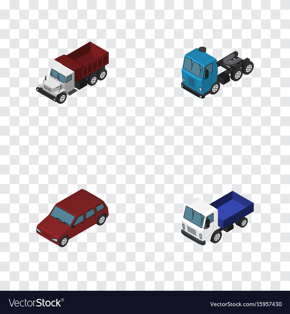 Isometric transport set of freight car truck and