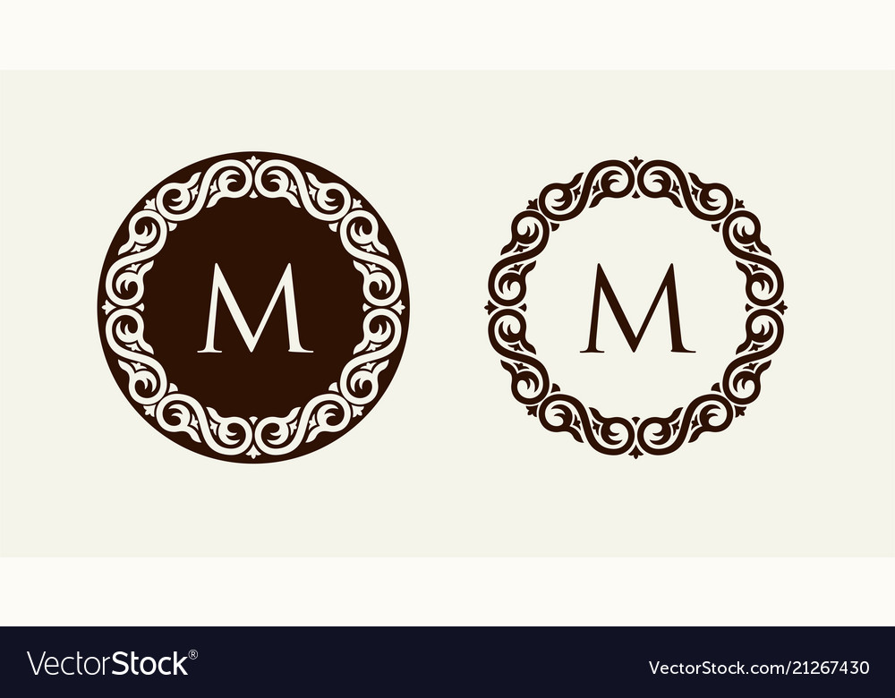 Monogram in baroque style floral ornament can be