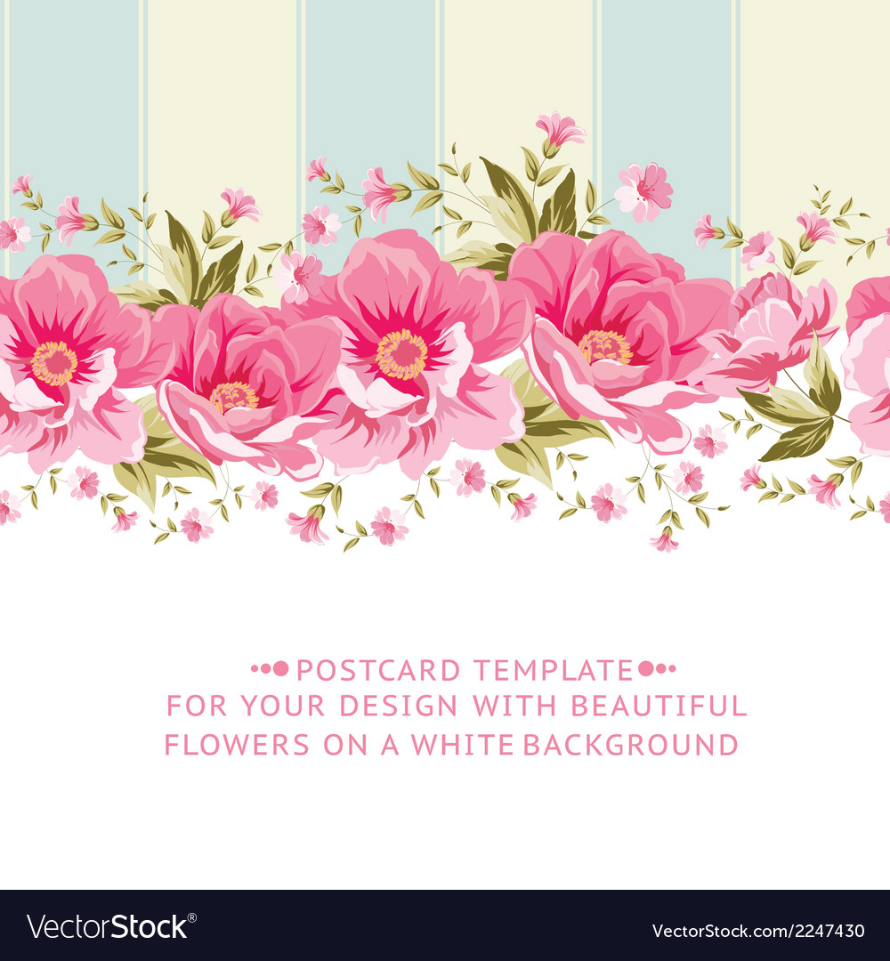 Ornate Pink Flower Border With Tile Royalty Free Vector