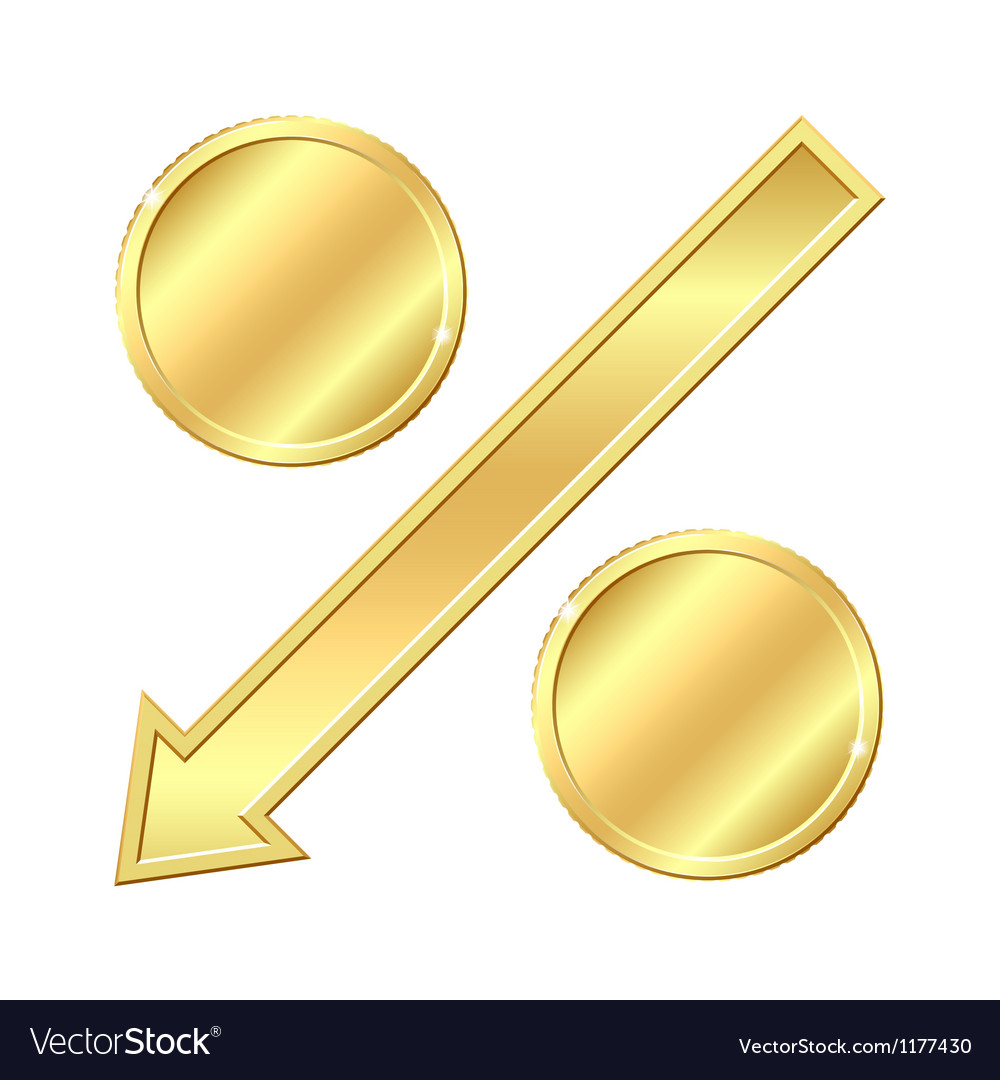 Percentage sign with gold coins