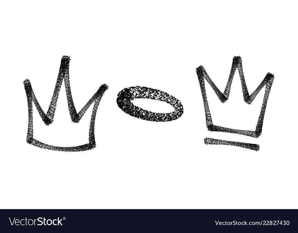Sprayed crown graffiti set in black over white vector image
