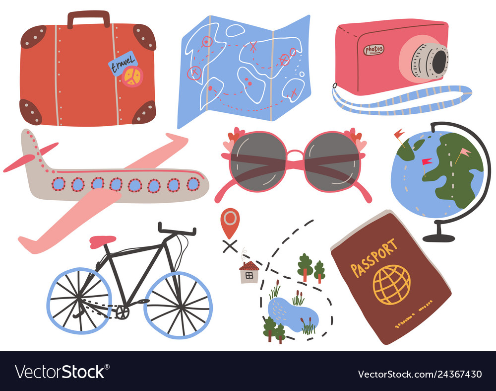 Travel objects collection suitcase map camera