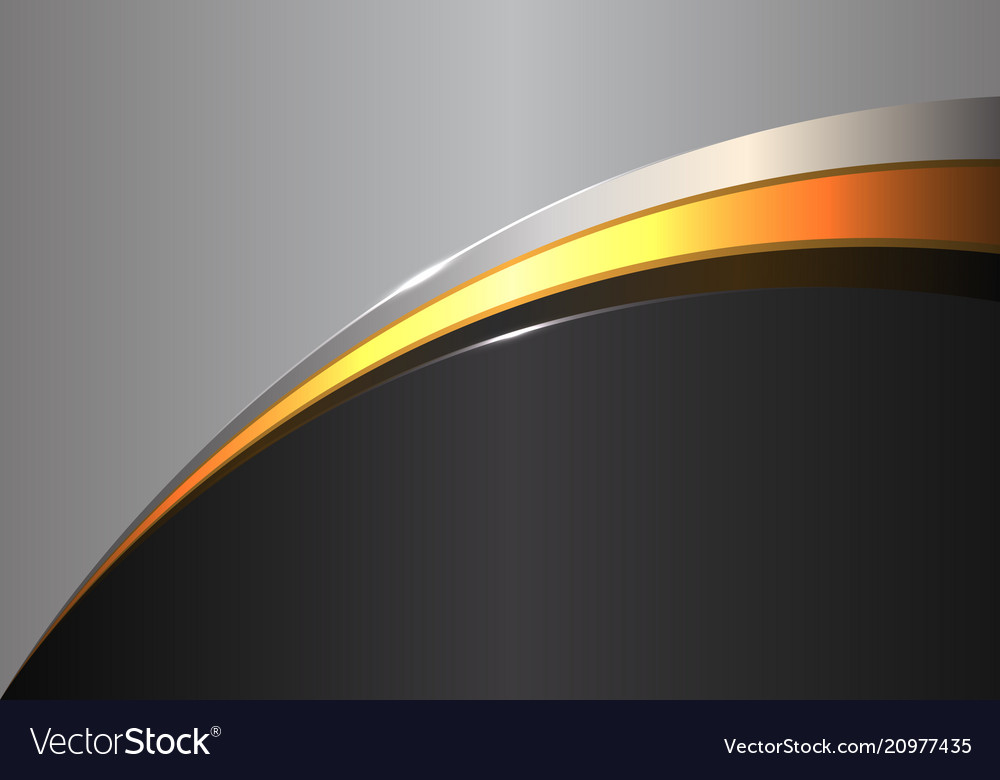 Abstract Gold Line Curve On Black Gray Design