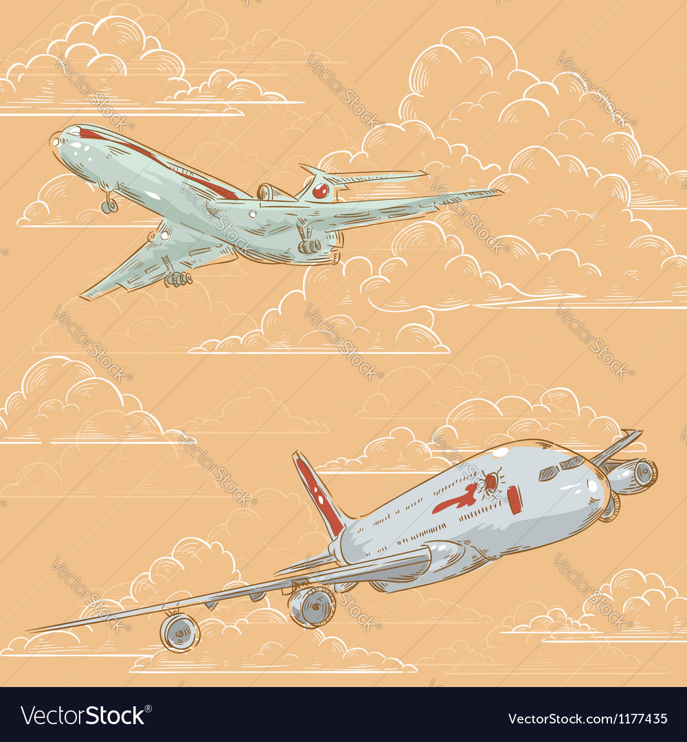 Airplanes on cloudy background card