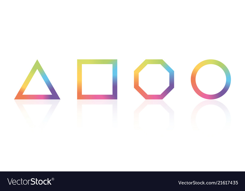 Basic geometric shape with color rainbow spectrum