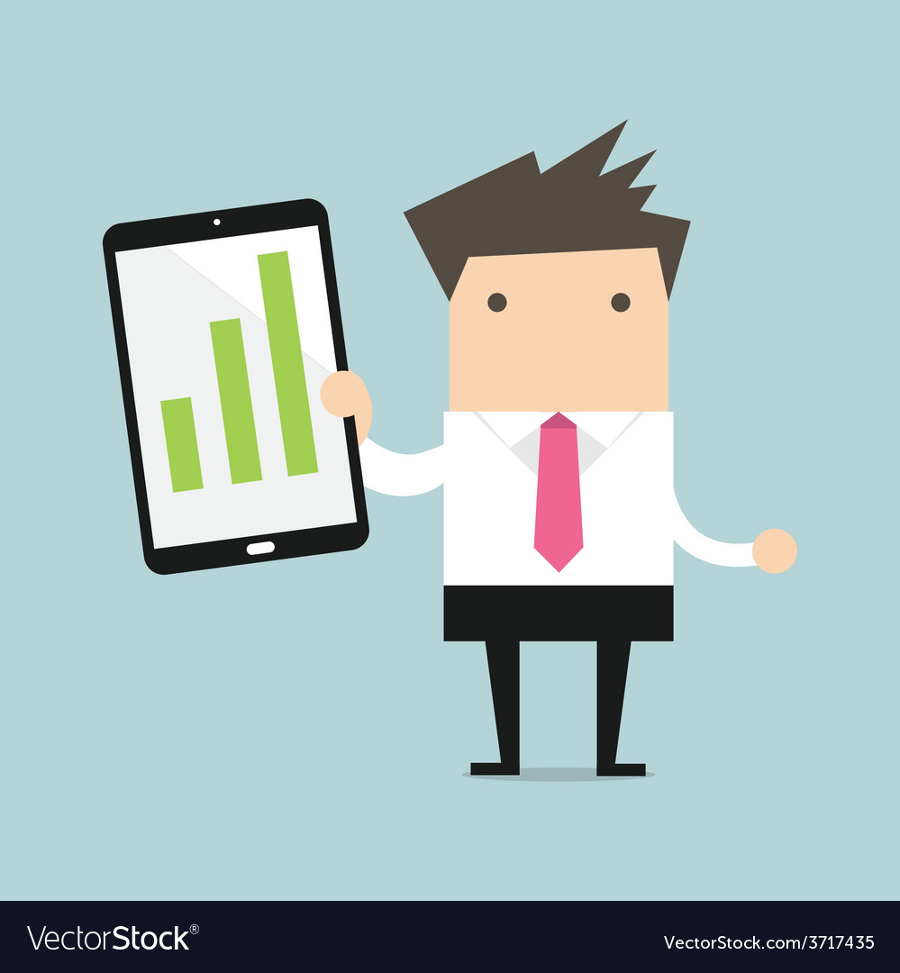 Businessman Holding A Tablet With Growing Graph