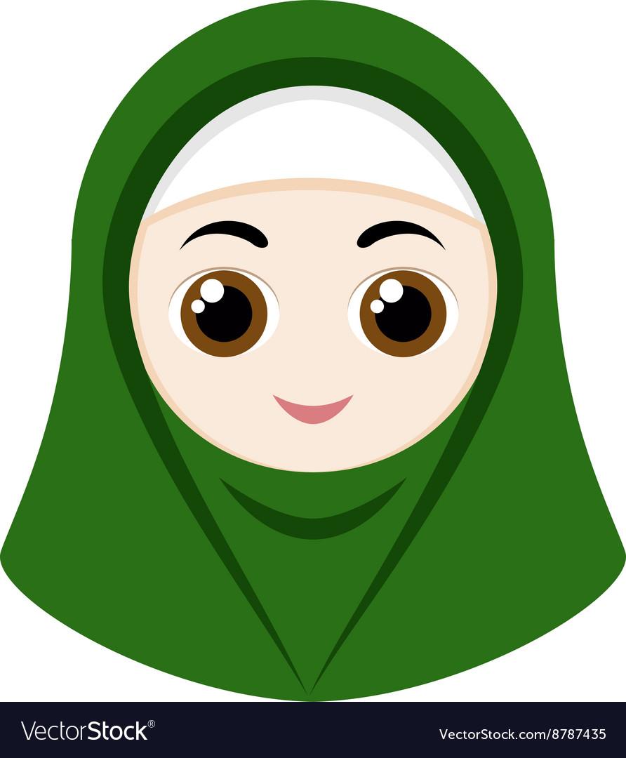 Green hijab girl islamic vector images 38