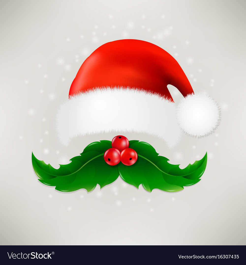 Christmas card with moustaches and santa claus cap vector image