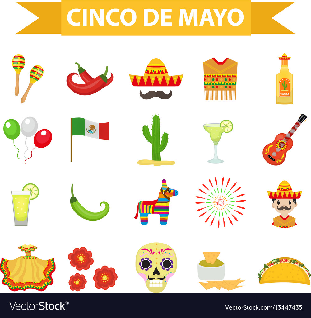 Cinco de mayo celebration in mexico icons set