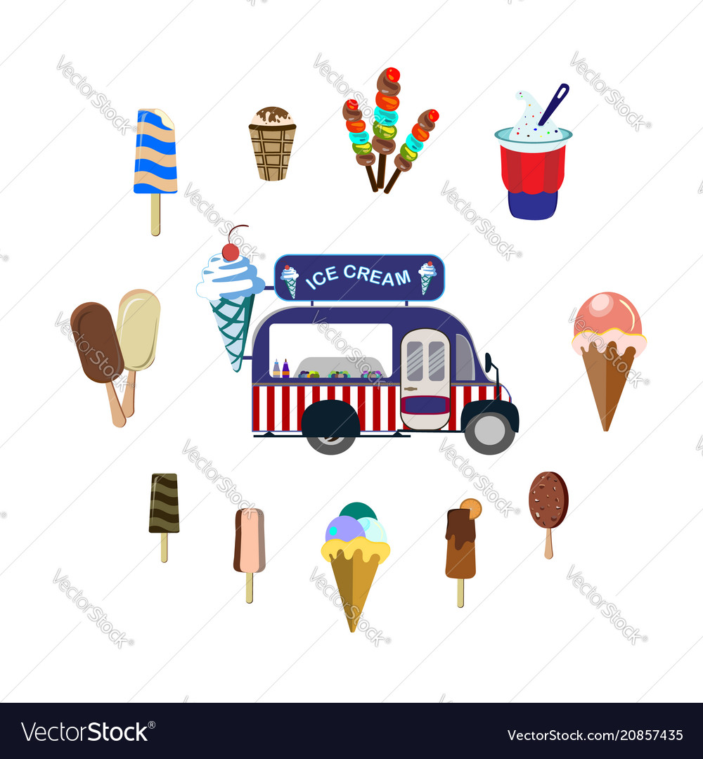 Concept on street food set with car and ice cream