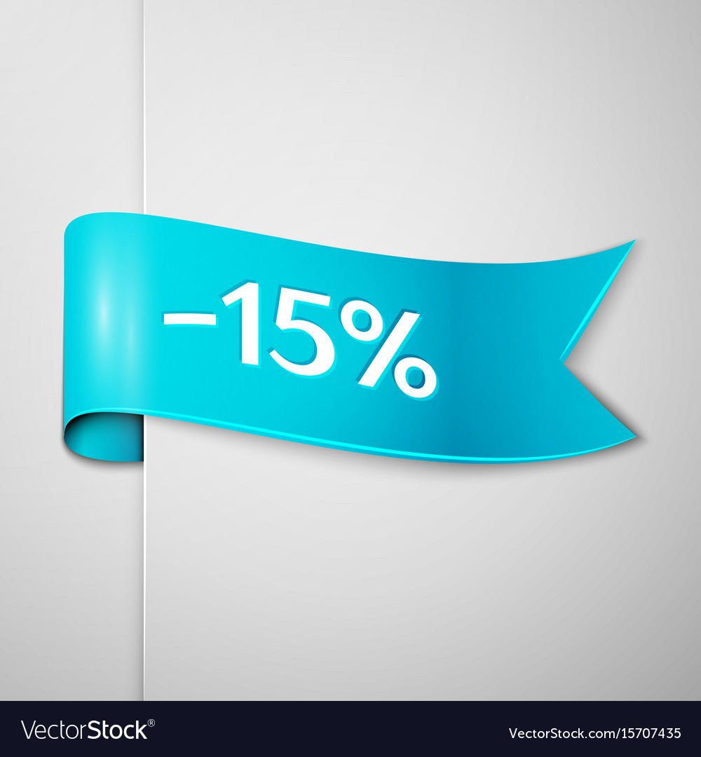 Cyan ribbon with text fifteen percent for discount