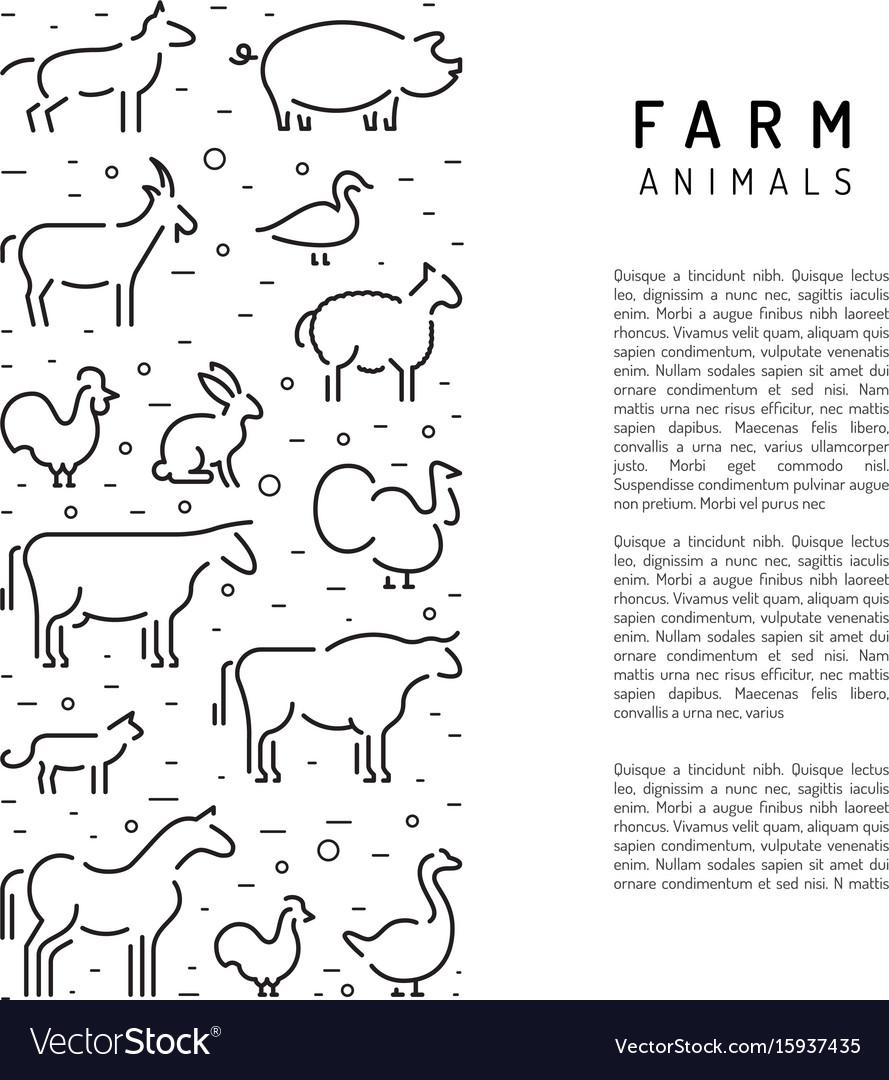 Farm animals silhouettes outline