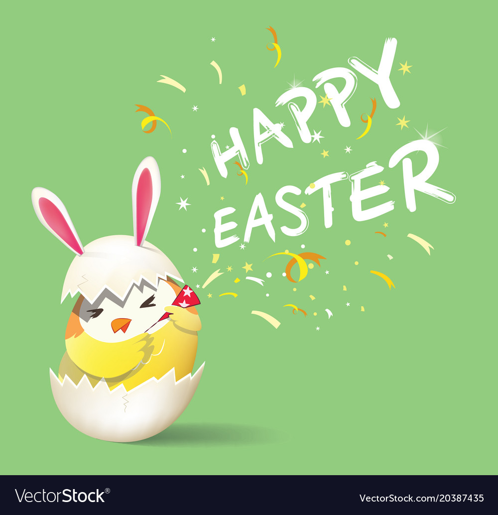 Happy easter cute yellow rabbit chicken character